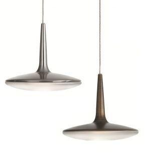 Modern LED-Pendelleuchte - Stahl - Glas - 1-flammig - in Stahl gebürstet oder Bronze