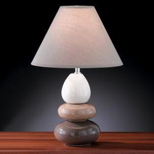 Tischleuchte Höhe 42cm mit Steinen aus Keramik, in zwei verschiedenen Naturfarben wählbar