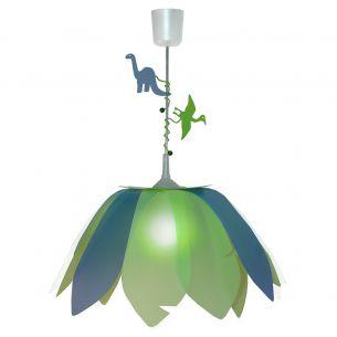 Transparente Kinder - Pendelleuchte - Leuchtenserie mit reizenden Motiven - Hellgrün und Blau - Dinosaurier