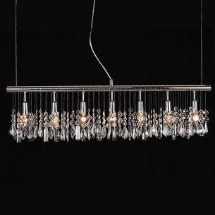 Moderne  7-flammige Pendelleuchte - mit 28 x dekorativem Glasbehang