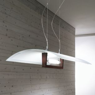 Moderne Pendelleuchte in Weiß oder in Wengè-Optik - 55x40cm - inklusive Halogenleuchtmittel 120W ECO