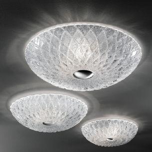 Prunkvolle Deckenleuchte mit Glas in Kristalloptik oder in Opal erhältlich - Durchmesser 54cm