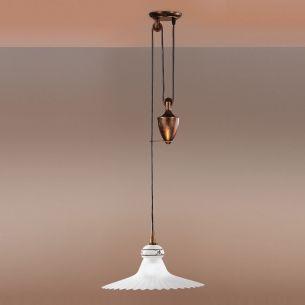 1-flammige Zugpendelleuchte im Landhausstil - höhenverstellbar - rostfarbig - 34cm Durchmesser