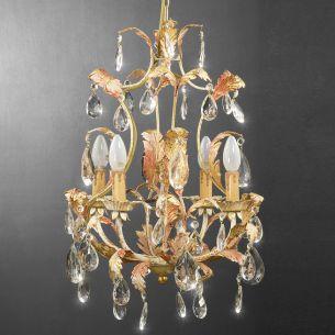 4-flammiger Lüster - Handgemacht in Italien - Glasbehang oder Bleikristallbehang wählbar