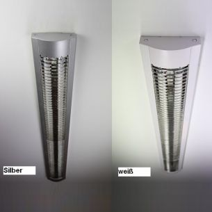 Rasterleuchte in weiß und Silber - Länge 134,5cm - für Leuchtstoffröhren