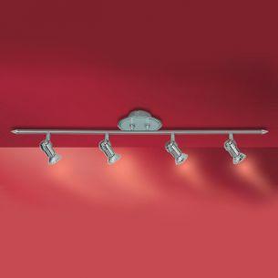 Moderne Strahlerleiste - 4 Spots-  in stahl mit geeistem Glas