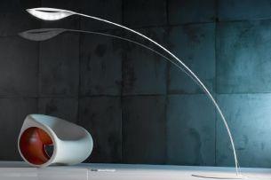 Design LED Stehleuchte in Carbonfaser oder weiß RAL9010, Touchdimmer, inklusive Leuchtmittel
