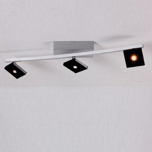 LED-Deckenleuchte in Aluminium geschliffen, 3 schwenkbare Reflektoren schwarz,  inklusive warmweißer LEDs, 2700K