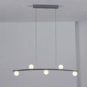LED-Pendelleuchte in Aluminium geschliffen, Glas opal weiß, inklusive warmweißer LEDs, 2700K