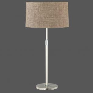 Klassische Tischleuchte - Höhenverstellbar - Nickel matt/Chrom - Schirm aus Leinen - Made in Germany - Walnuss