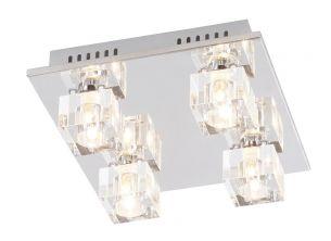 LED-Deckenleuchte mit Fernbedienung, 52x52 cm, in Chrom, Kristallglas