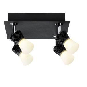 LED-Strahler in Schwarz mit satiniertem Glas inklusive 4x 3W LED 800 Lumen