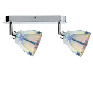 strahler in chrom mit dichroitischem glas inklusive 40w gz10 halogen wohnlicht. Black Bedroom Furniture Sets. Home Design Ideas