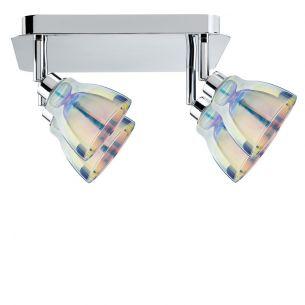 Strahler in Chrom mit dichroitischem Glas inklusive 4x 40W GZ10 Halogen