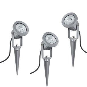 3er Set LED-Erdspießstrahler 3x 3W 3000°K  mit Steckerzuleitung und Trafo, Länge: 3 x 2 m
