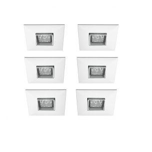 6er-Set quadratische Einbauleuchte in Weiß  17° schwenkbar weiß, verzinkt