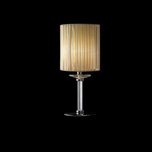 Klassisch elegante Tischleuchte - Stoff-Lampenschirm in Beige- Klares Muranoglas