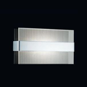 Rechteckige Wandleuchte mit Streifen-Glas in Chrom-Schwarz - 30x16cm - inklusive Halogenleuchtmittel