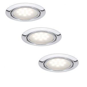 3er Set LED-Einbauleuchten in Chrom inklusive 3x 1W LED 2700°K silber, Chrom