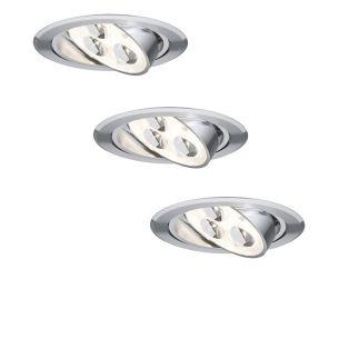 3er Set LED-Einbauleuchte in Aluminium inklusive 3W LED 3000°K und Trafo 45° schwenkbar