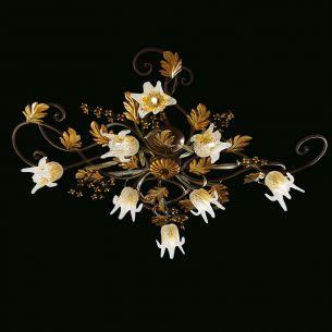 Leuchtenserie im Florentiner-Stil - Deckenleuchte - Metall - Braun/Gold - Muranoglas mundgeblasen - 2 Größen