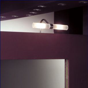 Spiegelaufbauleuchte aus Chrom mit gefrosteten Gläsern inklusive 2x 33W G9 ECO-Halogen