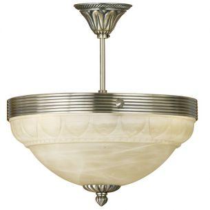 Deckenleuchte, Ø 37cm, elegante Leuchte mit hochwertig verarbeitetem Alabasterglas in champagner