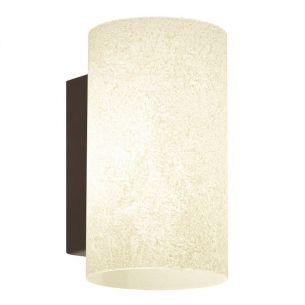Wandleuchte Stahl, antik-braun / Glas gekalkt, beige, Energie-Saver Leuchtmittel inklusive