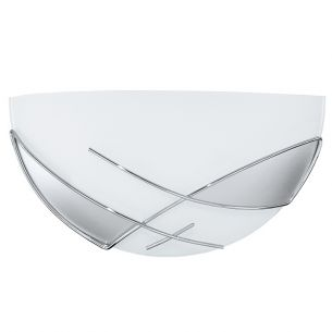 Wandleuchte aus Stahl, weiss, chrom/Glas satiniert, weiss, silber