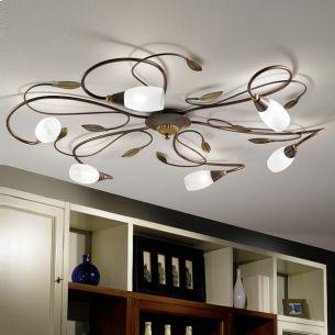 Deckenleuchte 6 flammig, antik-braun, gold /Glas satiniert, weiß inklusive Energie-Saver- Leuchtmittel