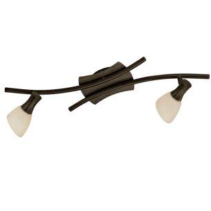 Wandleuchte antik-braun mit 2 schwenkbaren Leuchtengläsern, Energie-Saver Leuchtmittel inklusive