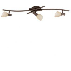 Deckenleuchte antik-braun mit 3 schwenkbaren Leuchtengläsern, Energie-Saver Leuchtmittel inklusive