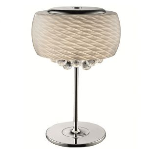 standleuchte aus mundgeblasenem glas mit kristallbehang mit dimmerfunktion wohnlicht. Black Bedroom Furniture Sets. Home Design Ideas