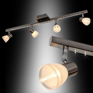 Moderne LED Deckenleuchte aus Metall in Nickel matt - inklusive LED Leuchtmittel