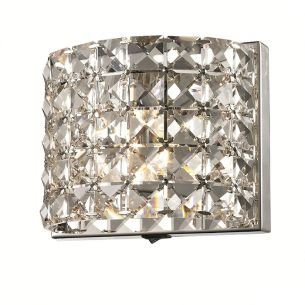 Luxuriöse Wandleuchte mit klaren quadratischen K9-Kristallen, 1flammig