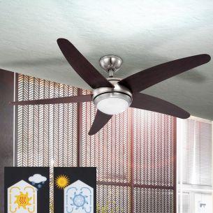 Deckenventilator beleuchtet in Nickel-matt mit wengefarbigen Flügeln inklusive Fernbedienung