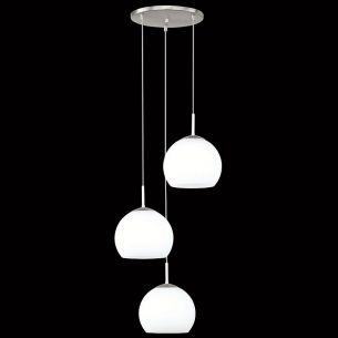 Schlichte Leuchtenserie - Nickel-matt - Opalglas - 3-flammige Pendelleuchte