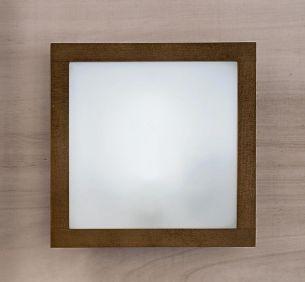 Quadratische Wandleuchte in Wengeholz oder Kirschholz - Glas satiniert - 28cm x 28cm