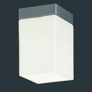 Eckige Deckenleuchte, 1-flammig, Opalglas Weiß, Höhe 11cm