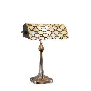 Tiffany-Tischleuchte im Stil einer Bankerslamp