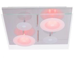 LED-Deckenleuchte mit LED-Farbwechselfunktion und Fernbedienung, Chrom mit teilsatiniertem Glas, 10 flammig