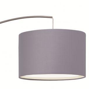 Bogenleuchte mit rundem Stoffschirm, Leuchtenschirm wählbar in Weiß oder Grau