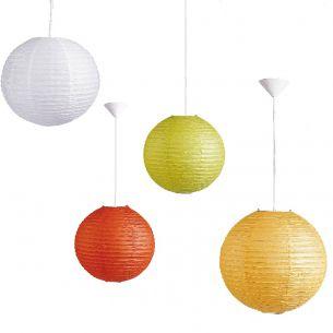 Reis-Papierlampenschirm in Weiß, Lemon, Gelb oder Orange, Ø in 30cm