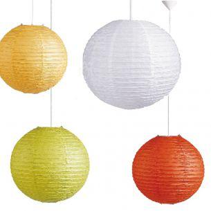Reis-Papierlampenschirm in Weiß, Lemon oder Orange, Ø in 40cm
