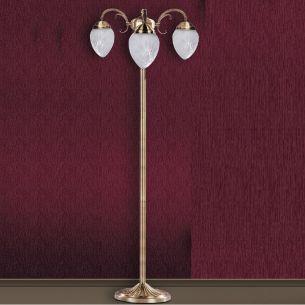 Standleuchte bronzefarbend mit geschliffenem Glas, Höhe 160cm