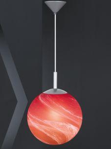 Pendelleuchte mit orange/rotem Alabasterglas mit 30cm Durchmesser