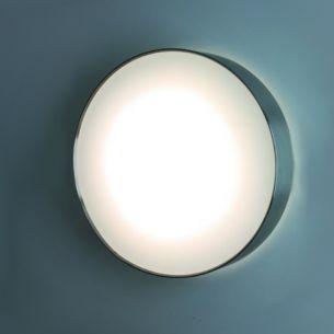 Sensor-LED-Wandleuchte für den Flur - mit weißen Diffusor und Edelstahlring - in unterschiedlichen Lichtstärken - IP65