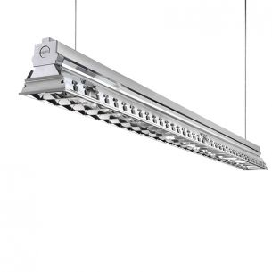 Büro-Raster-Deckenleuchte - Aluminium - 2-flammig - 2 x 54 Watt 2x 54 Watt, 117,20 cm