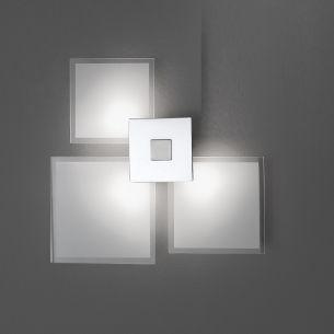 Wandleuchte in Weiß, Glas quadratisch, 3-flg.