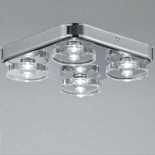 Badezimmer-LED-Leuchte in Chrom, LED 3000K warmweiß, 4 flammig